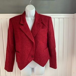 Vintage Christian Dior Red Tweed Womens Blazer 4
